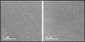 Defective (left) and non-defective (right) III-V crystalline layer