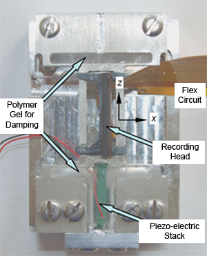 A recording head mounted on a piezo-electrically actuated track-following system